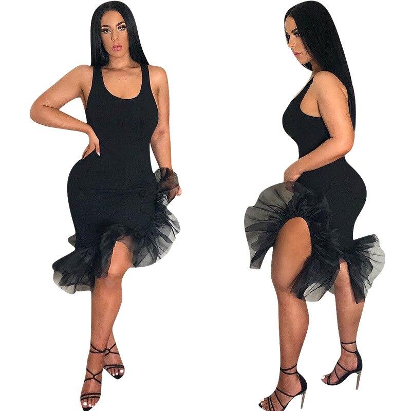 Women One-pieces Dress Sleeveless Slim Fit Irregular Hem Dress for Summer -MX8