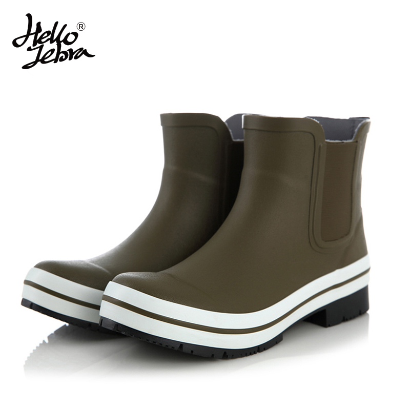 Hellozebra Women Rain Boots Lady Low Heels Natural Rubber Solid Pleated Ankle Waterproof Cotton Welly Buckle Nubuck Rainboots hellozebra women rain boots lady high shoes platform eva boots printing leather low heels waterproof buckle wearable appliques