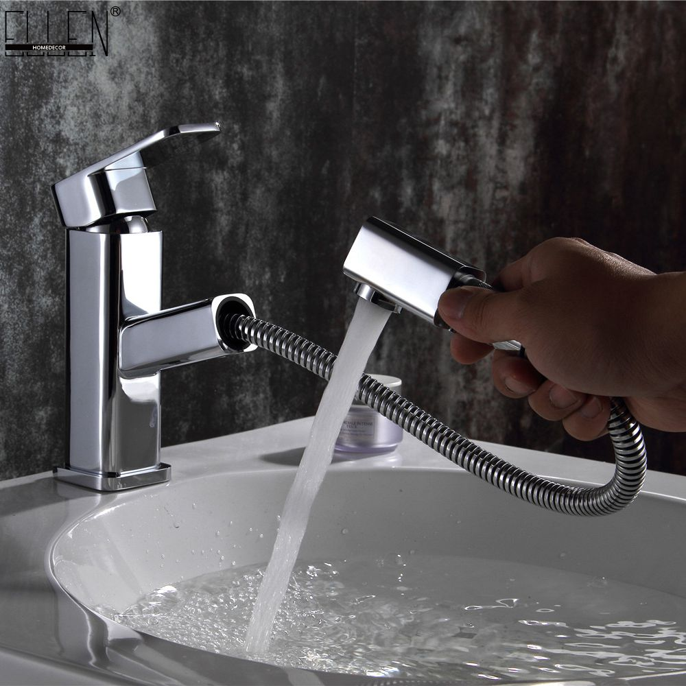 Copper Pull Out Bathroom Sink Faucet Hot and Cold Water Mixer Crane Square Basin Sink Tap