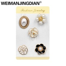WEIMANJINGDIAN Set of 5 Pieces Enamel and Simulated Pearl Flower Brooch Pins for Handbags or Shoes Fashion Jewelry Accessories(China)