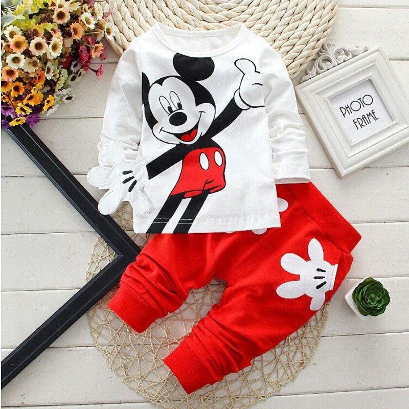 Ropa de bebé niños 2017 primavera otoño dibujos animados ocio camisetas de manga larga + Pantalones ropa de bebé recién nacido niñas niños Bebes trajes