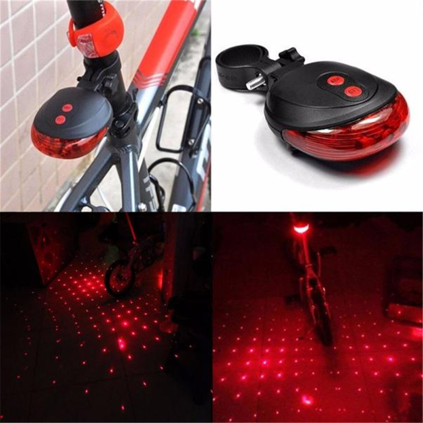 High Quality 2 Laser +5 LED Flashing Lamp Rear Light Cycling Bicycle Bike Tail Safety Blue