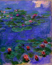 mural painting home decoration art  red water Lilies c.1908  by Claude Monet masterpiece reproduction Wall Decorative Art