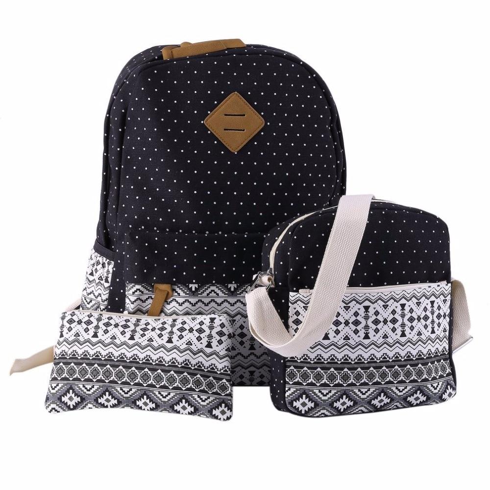 0bb6bba8a0 Girl School Bags For Teenagers Women Backpack Shoulder Bag Printing School  Bags Fashion 3 Pcs Set Vintage B