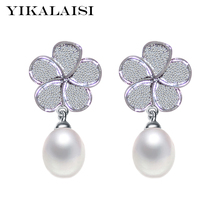 YIKALAISI 2017 natural freshwater pearl jewelry earrings for women 925 sterling silver jewelry 100% genuine wedding gift