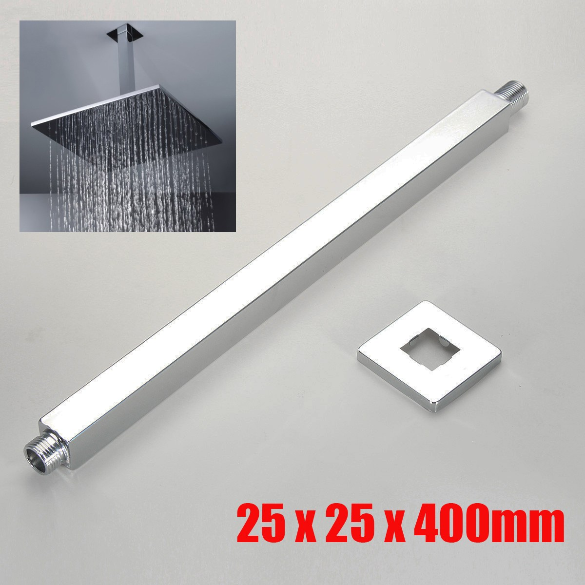 16 Inch 40cm Square Rain Shower Head Wall Mounted Extension