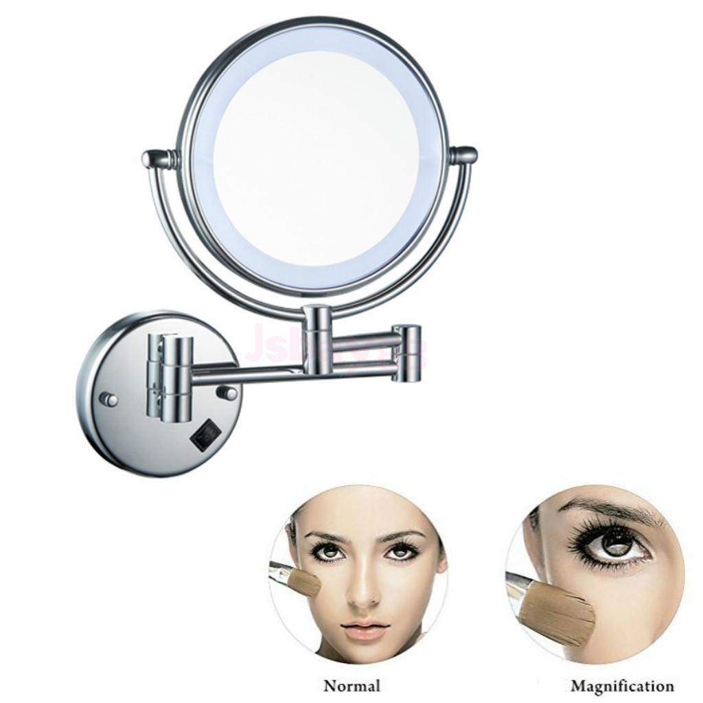 8inch LED Light Wall Mount Extending Folding Double Side Makeup Mirror 3x 5x 7x Magnification Bath Shaving Chrome Bronze Finish
