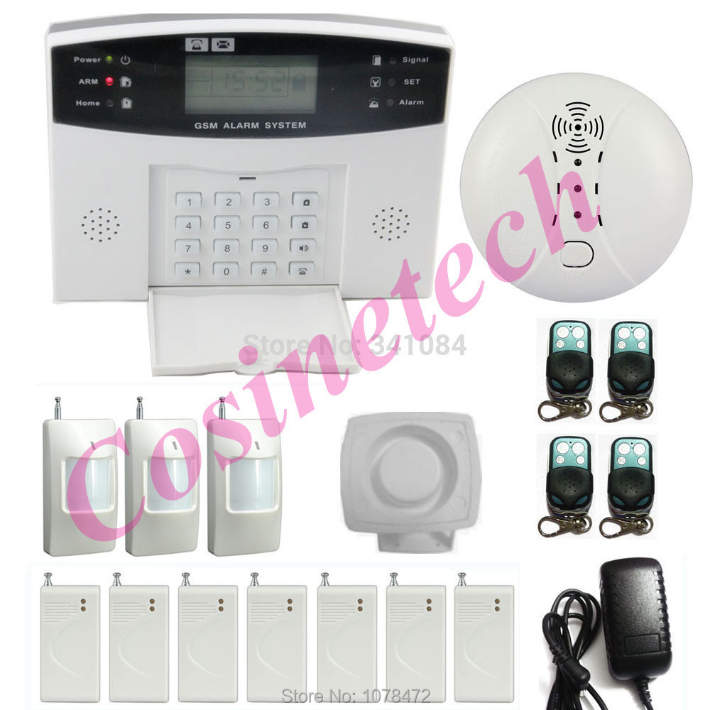 Available for global Security Quad-band GSM Alarm System with police siren,Smoke Sensor,PIR detector,Drop shipping