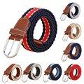 Men Canvas Belts Woven Leather Pin Buckle Elastic Waist Belt Waistband Boy Waist Belt