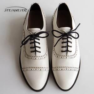 Image 3 - Women genuine leather oxford shoes round toe black white lady lace up brogues loafers casual shoes for women leather shoes 2020