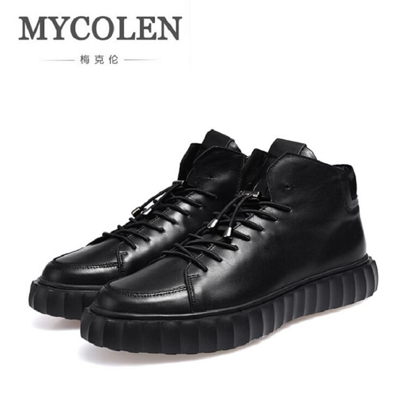 MYCOLEN Brand Designer Men Leather Shoes Height Increasing Men Casual Shoes Fashion Basket Shoes Breathable Chaussures Hommes 2017 new spring imported leather men s shoes white eather shoes breathable sneaker fashion men casual shoes