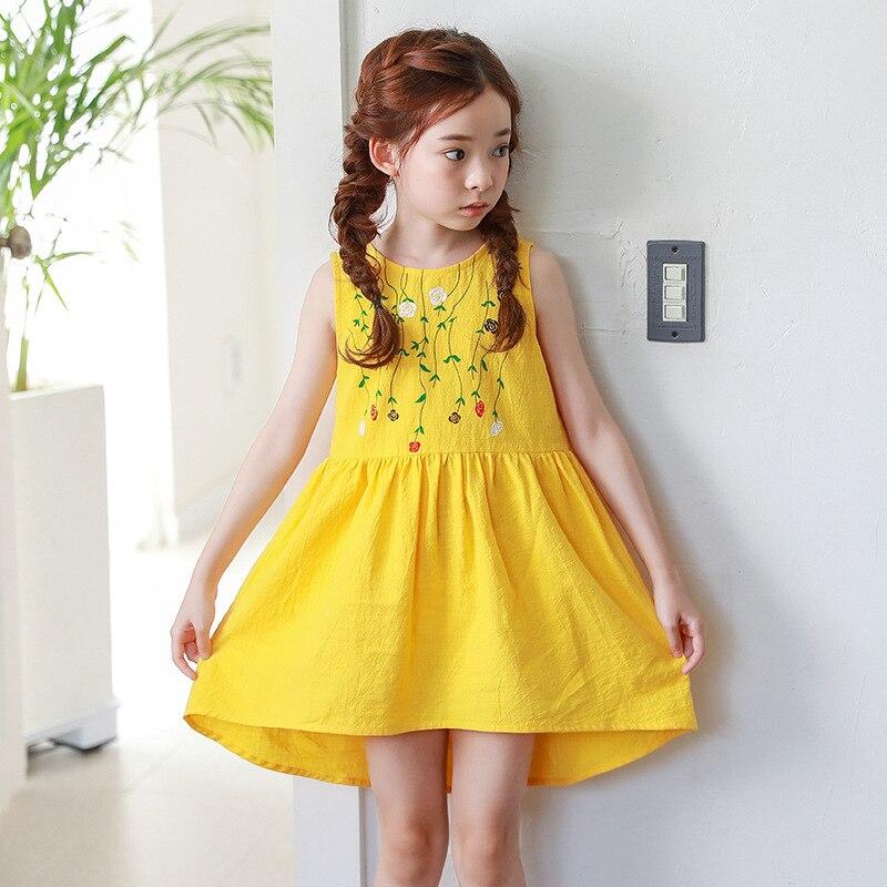 acda0406b644 2018 New Baby Floral Dress Girls Summer Dress Kids Bow Dress Toddler  Clothes Sleeveless Irregular Children Dress,2539