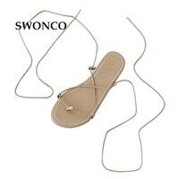 SWONCO Dép của Phụ Nữ 2018 Summer Fashion Chéo-tied Bãi Biển Giày Dép Đấu Sĩ Phụ Nữ Flat Kích Thước Nhỏ 32-40 Cô Gái Giày N