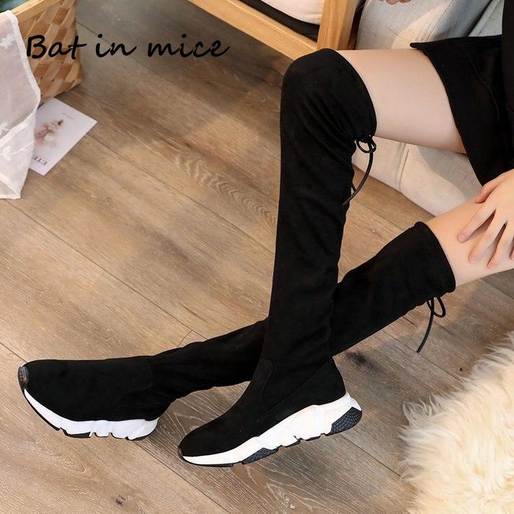2018 inverno Nova Moda Das Mulheres Sobre O Joelho Botas casuais Sensuais de Salto Alto Mulheres Sapatos de Inverno Botas Quentes botas de neve a096