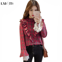 Spring Sweet Korean Fashion Plaid Shirt Women Vintage Big Bow Blouses Tops Lace Full Flare Sleeve Ruffled Shirts 2018 Red Yellow