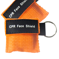 500Pcs/Pack Mini CPR Resuscitator Mask Keychain Key Ring CPR Face Shield With One way Valve Orange Nylon Bag Anti Proof