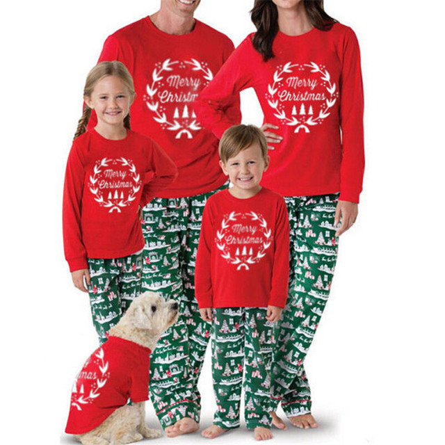 Christmas Parent-child Clothes Set 2019 New Year s Red Merry Christmas  Pyjamas Family Matching Adult Women Kid Sleepwear Pajamas 77a522f80464