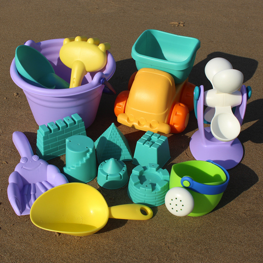 Soft Silicone Beach Sand Toys For Children SandBox Set Kit Sea Sand Bucket Rake Hourglass Water Table Play And Fun Shovel Mold