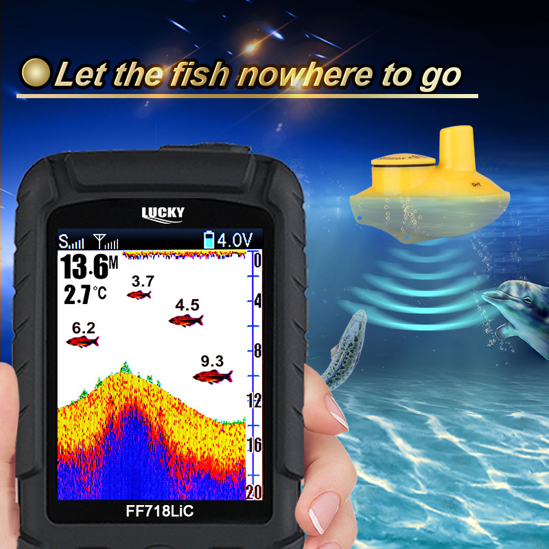 Lucky Brand Fish Finder Wireless Portable 45M/147Feet Sonar Depth Waterproof Fishfinder Ocean River Lake Carp Fishing FF718LiC-W