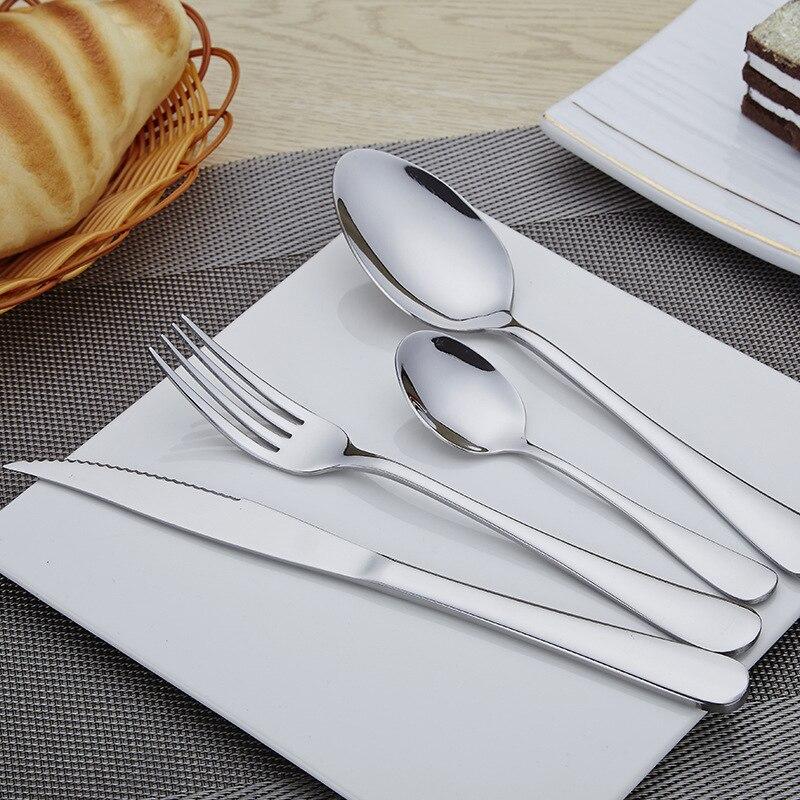 Ensemble de 24 pièces boîte en bois en acier inoxydable vaisselle ensemble 6 pour Steak et fourchette cuillère cuillère et fourchette nourriture pics fourchette en bois 3DCJS20 - 3