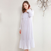 Pure Cotton Sleepwear Female Spring Thin Loose Palace Lovely Princess Lace Long Sleeve Nightdress White Long Nightgowns D181206