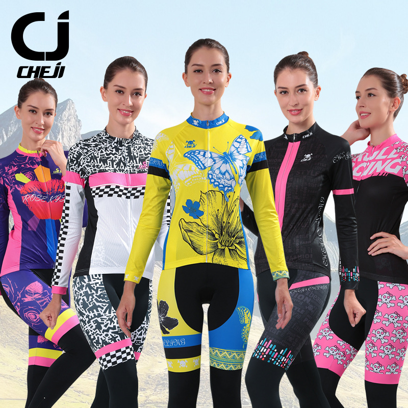 Anti-UV CHEJI Womens Long Cycling Clothing Breathable Bike Jerseys Pants Set GEL Padded MTB Outdoor Wear For Protective Skin