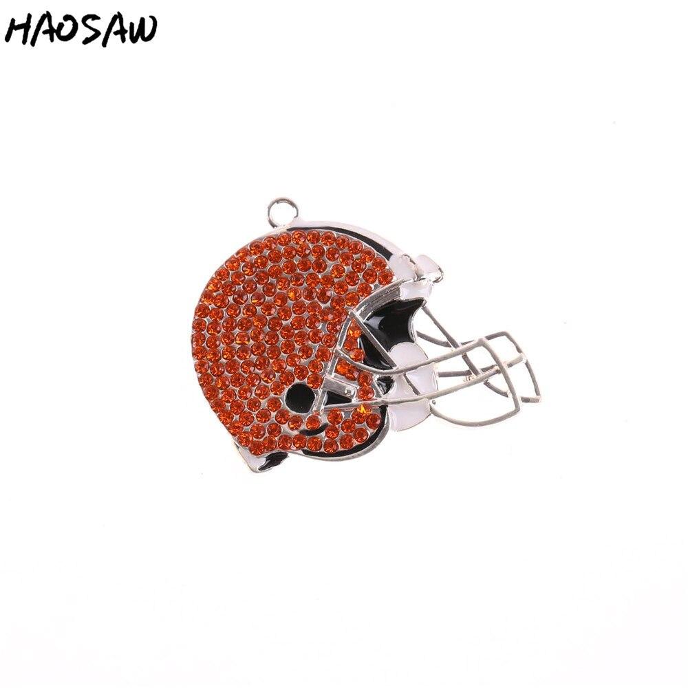 Fashion Pendant Jewelry 1pcs With Chain Rhinestone Helmet Football Team Pendant Sport Pendant For Necklaces Jewelry KQRP-503539