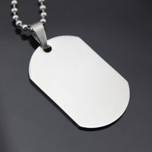 Military Army Style Silver Tone Polished Dog Tag Men Women Stainless Steel Pendant Long Beads Chain Choker Necklace Jewelry(China)