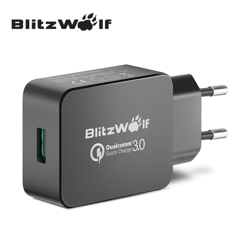 BlitzWolf QC3.0 certifierad 18W USB-laddare EU-adapter med Power3S Tech för Xiaomi för Samsung Chagers för iPhone