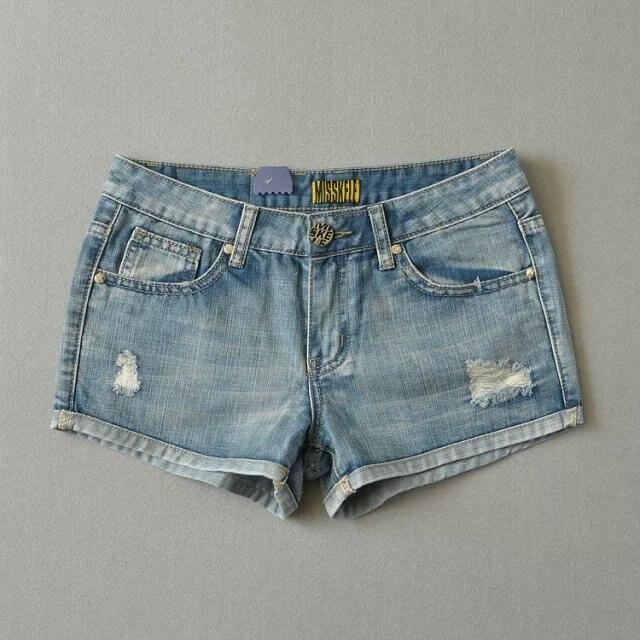 2016 лето новое поступление женщин мода свободного покроя джинсовые шорты, Женский старинные марки короткое рваные джинсы, Сексуальный тонкий отверстие