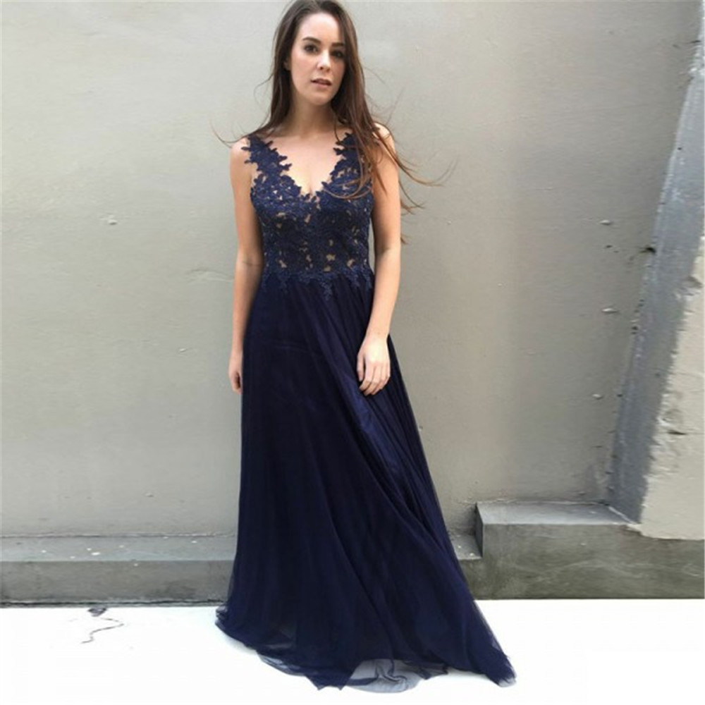 Navy Blue Tulle   Bridesmaid     Dresses   V Neck A Line Lace Appliques Illusion Long Formal Occasion   Dress   2019 Maid Of Honor Gowns