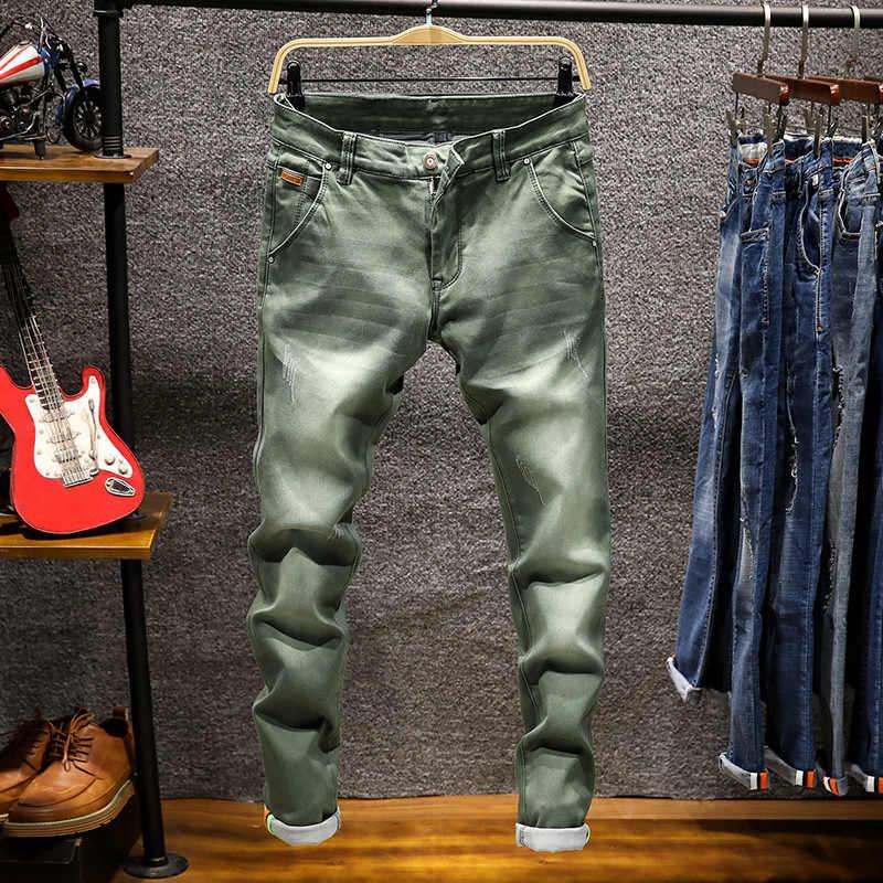 30f54805892 Fashion Designer Skinny Jeans Men Straight Dark Blue Khaki Color Printed Mens  Casual Biker Denim Jeans