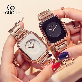 Fashion GUOU Rose Gold Steel No Fade Hardlex Rectangle Quartz Wristwatches Wrist Watch for Women Female Girls