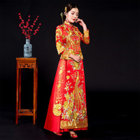 Red Embroidered Phoenix Cheongsam wedding dress Chinese Women Vestido Oriental elegant Long Qi Pao Noble Party Show
