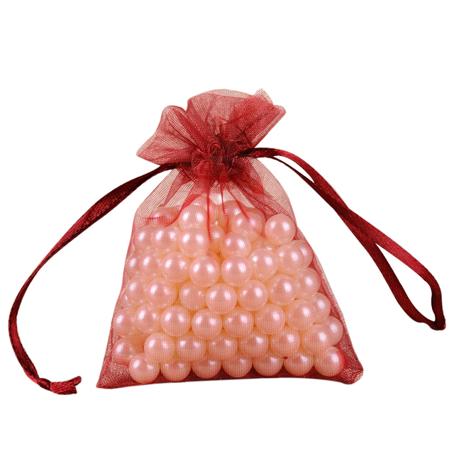 50pcs Red Wine Wedding Gift Pouches For Candy Jewelry Packaging Organza Bags Easy Carrying Drawstring