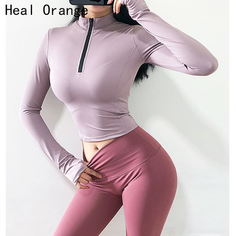 Blusa de Manga Curta para Academia Heal Camisa Laranja Esportiva Feminina Yoga