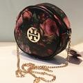 2016 de las mujeres pequeña flor pintura al óleo circular señoras mini bolsa de hombro mochilas impresión de la vendimia mujeres cadena messenger bag