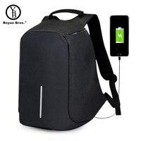 Boyue Bros USB Charge Anti Theft Backpack Men Travel Security Waterproof School Bags College Teenage 15inch
