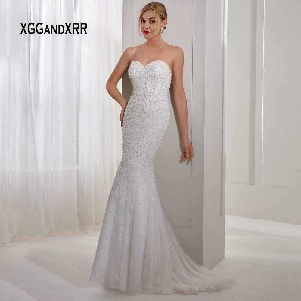Luxury Mermaid Wedding Dress 2019 Lace Full Pearls Bride Dress