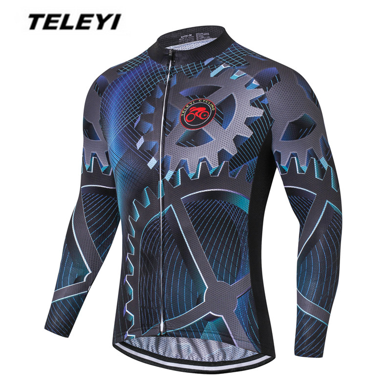 Gear Bike jersey Men Cycling clothing Male MTB Ropa Ciclismo Maillot Long Sleeve Shirt Bicycle riding Top fall Blouse breathable