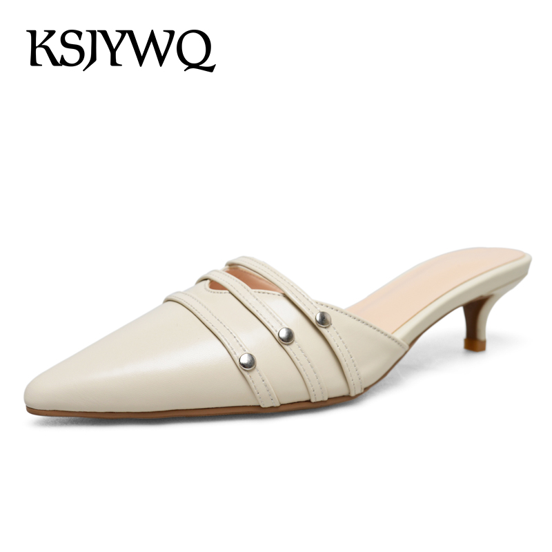 KSJYWQ Genuine Leather Women Mules 4 CM Heels Sexy Pointed-toe Slippers Summer Dress Shoes Woman Party Low Pumps Box packing 197 ksjywq plus size women red pumps slip on summer dress shoes 10 cm high heels sexy pointed toe woman stilettos box packing 1259 1