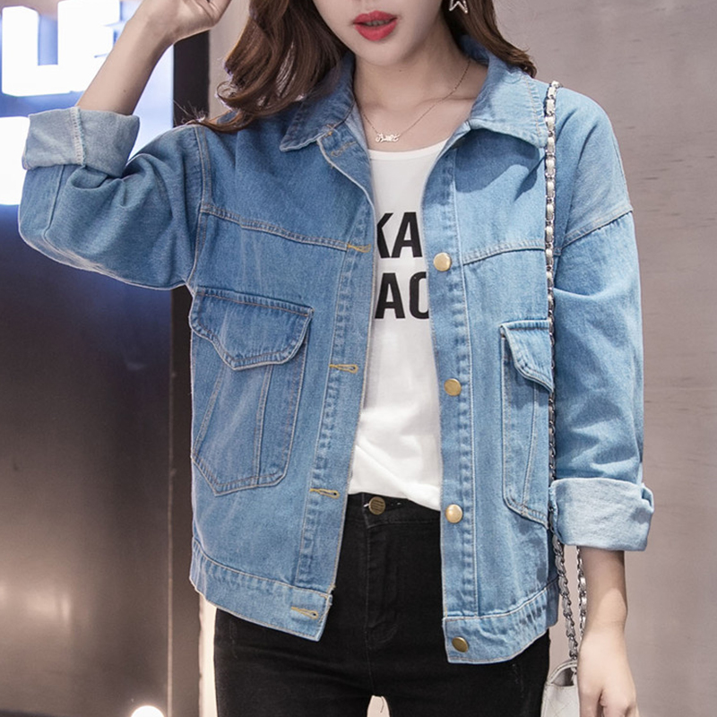 Plus Size 5XL 2018 Autumn Streetwear Women Basic Coats Women Denim Jacket Long Sleeve Loose Female Jeans Coat Casual Outwear