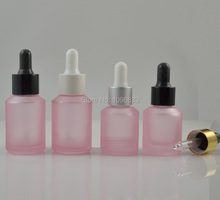 15ML 30ML Pink Frosted Glass Bottle with Pipette Dropper, Pink Essential Oil Bottles, Cosmetic Essence Packing Bottle, 25pcs/Lot