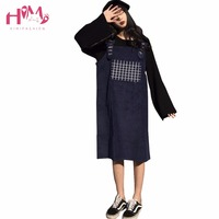 Spring Vintage College Long Spaghetti Strap Dress Women Japanese Cute Casual Embroideried Pattern Corduroy Suspender Dresses
