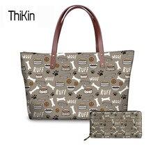 Thikin Fashion Women S Bag Casual Messenger Bags For Las Cute Dog Bone Paw Print Handbags