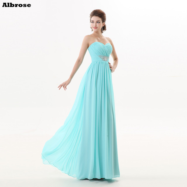 ce7f6d6311768 Sky Blue Beach Bridesmaid Dresses Pleat Chiffon Bridesmaid Dress Long  Sweetheart Beaded Formal Party Gown Chic Women Gowns