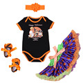 2016 Summer Newborn Halloween Black Romper + Tutu Dress+ Headband + Shoes +  Set Baby Girl Clothing Baby Girl Cotton Clothes
