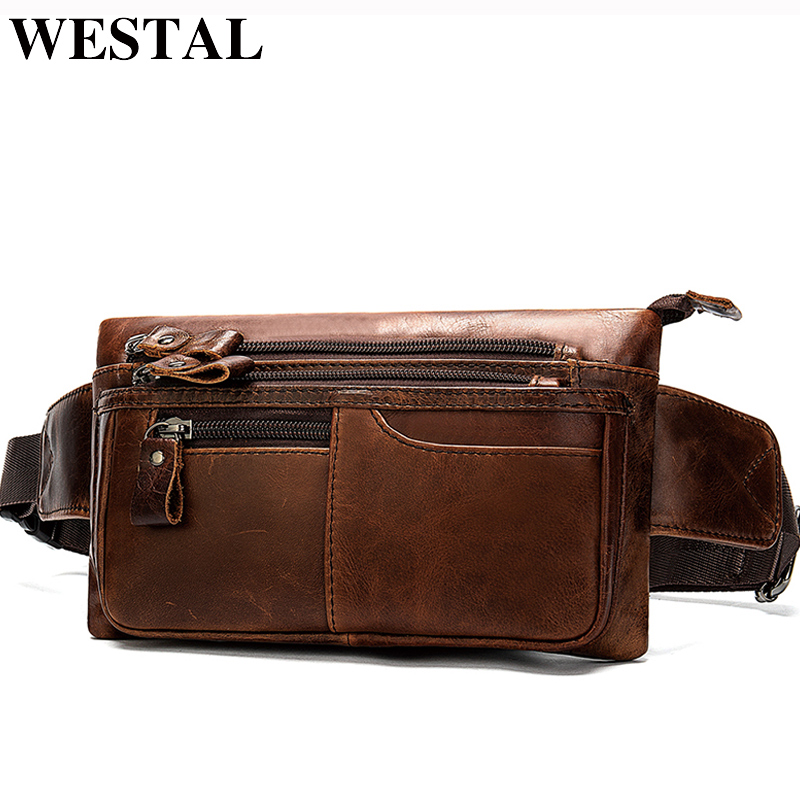 WESTAL Money Phone Belt Bag Men Multifunctional Fanny Pack Genuine Leather Waist Bag Hip Bum Waist Pack Travel Pouch Bags 8953