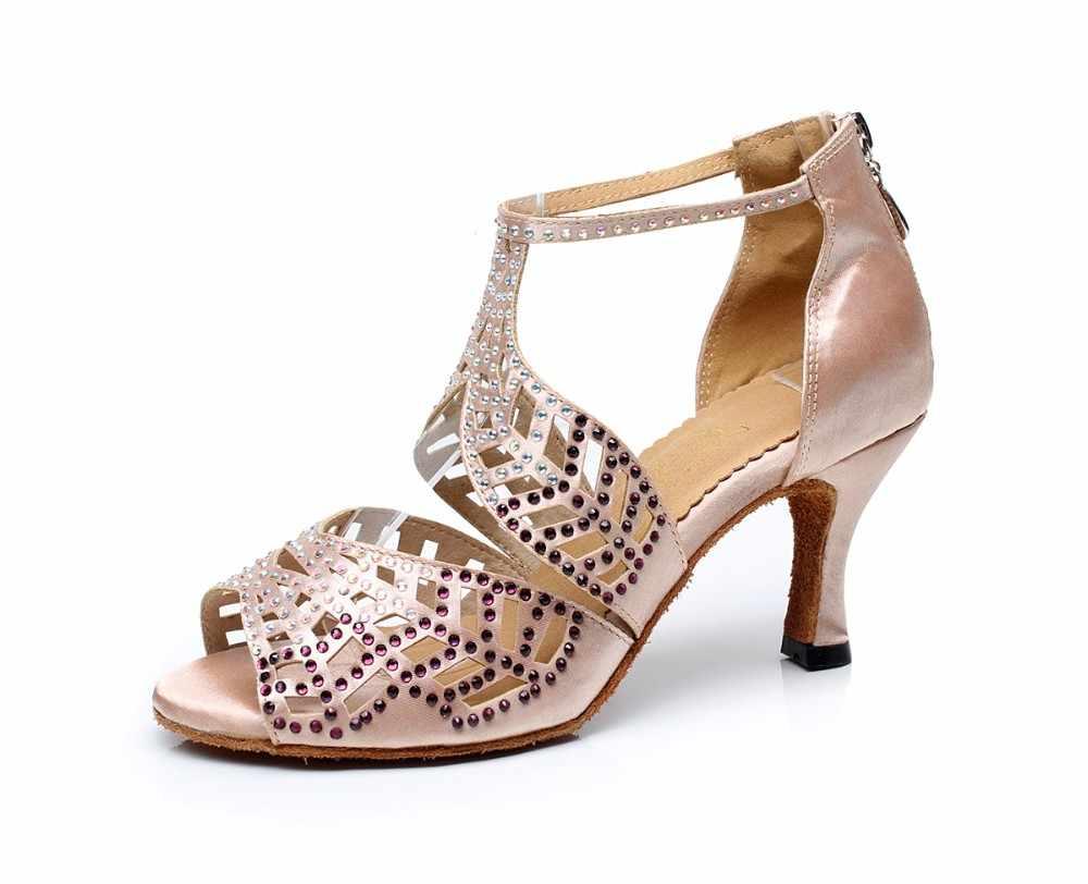 Rhinestone Satin Ballroom Latin Dance Shoes for Woman High Heel 7.5cm  Female Samba Tango Salsa 3138c01d93ec