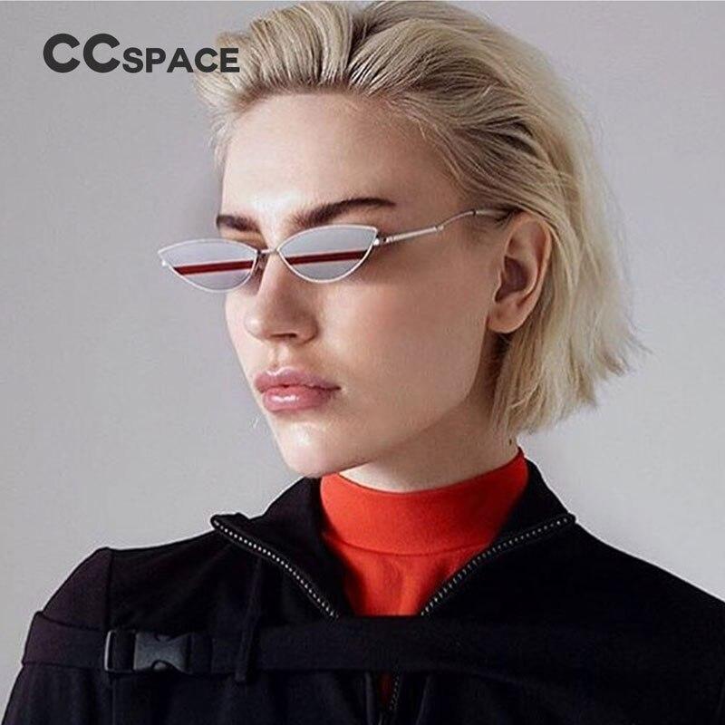 48000 Small Oval Metal Sunglasses CCSPACE Sexy Cat Eye Women Glasses Brand Glasses Designer Fashion Male Female Shades